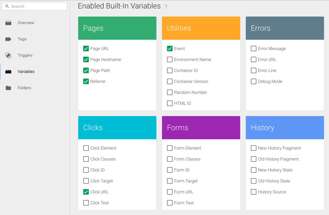 google tag manager variables